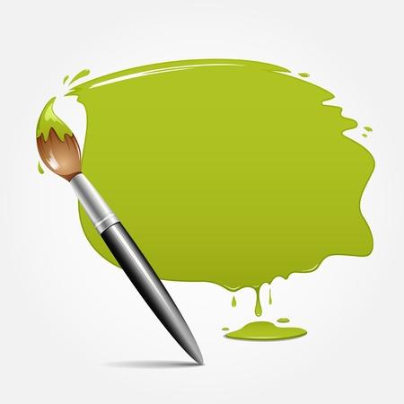 festékek: Ecset zöld háttér, vektoros illusztráció Illusztráció