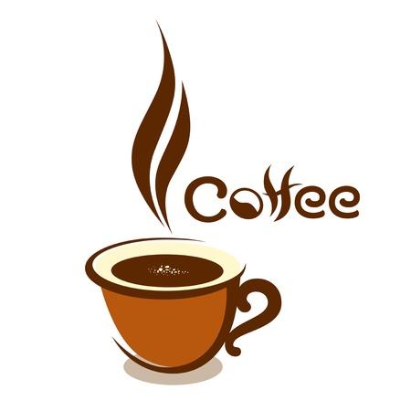 chicchi caff� su sfondo bianco: Caff� Tazza disegno, illustrazione vettoriale