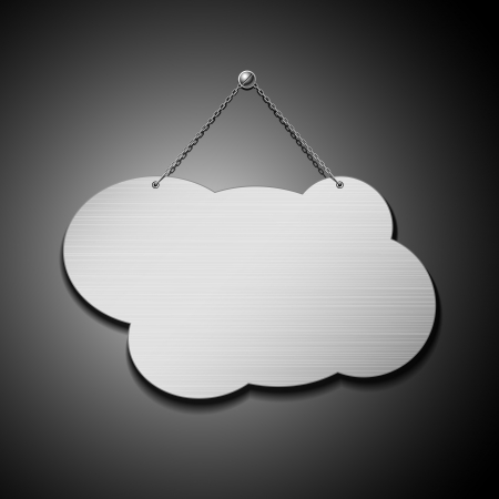 name plate: Empty cloud shape stainless steel with chain, vector illustration