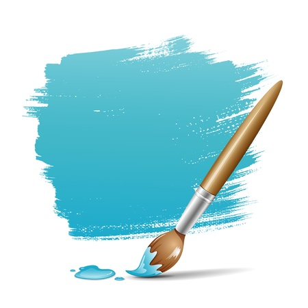 a brush: Paint brush  blue space your text design, vector illustration