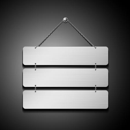 Plaque en acier inoxydable vide avec illustration vectorielle de la chaîne