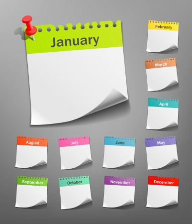 months of the year: White paper note  vector illustration Illustration