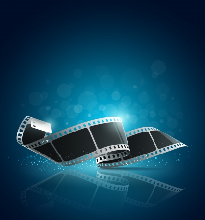 movie film: Camera film roll blue background, vector
