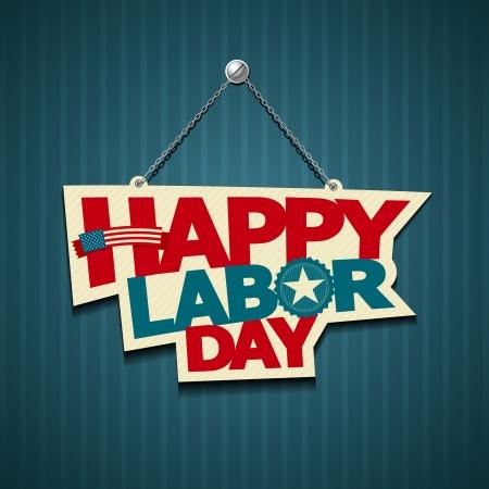 dia: Feliz día de trabajo en América signos texto vector