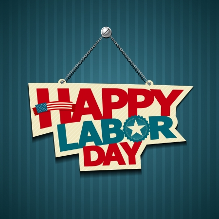 labor day: Happy Labor day american  text signs  vector Illustration