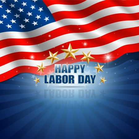 labor day: Labor Day in the American Background  Vector
