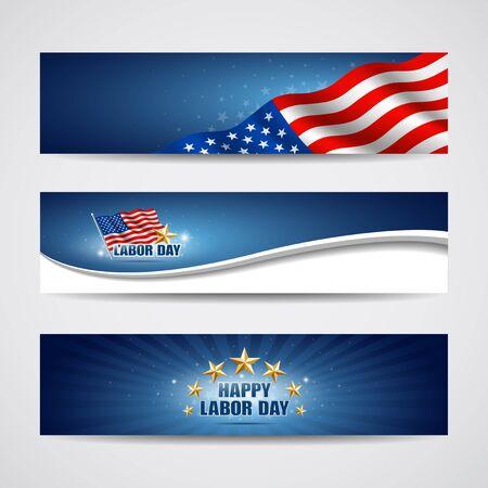 dia y noche: D�a del Trabajo bandera EE.UU. escenograf�a, ilustraci�n vectorial
