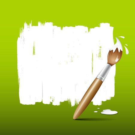 splash paint: Paint brush green background, vector illustration