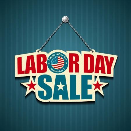 steel beam: Labor day american  text signs  illustration Illustration