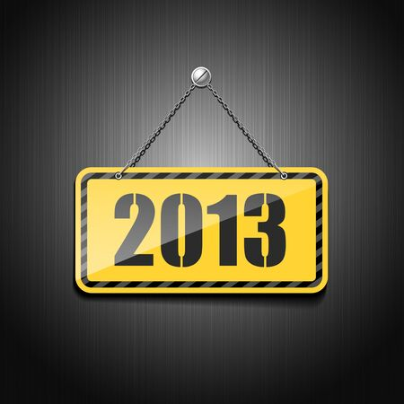 2013 Sign Hanging With Chain on stainless background Vector
