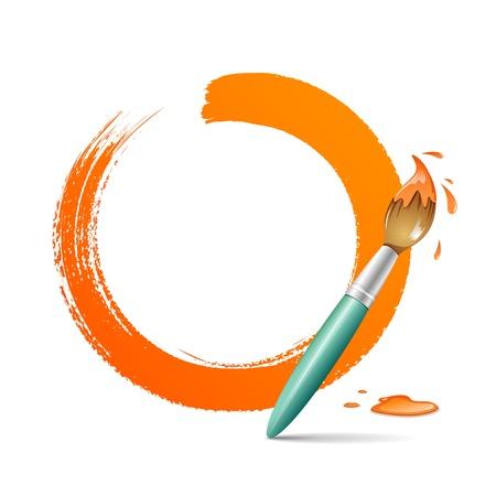 Paint brush  paint circle orange background Stock Vector - 15274201