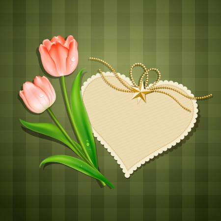 Tulipanes y tarjeta de papel moderno corazón Vectores