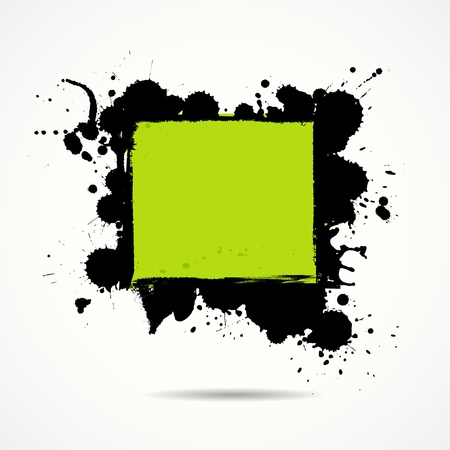 Green and black ink your space, illustration Vector