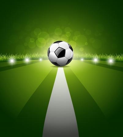 cancha de futbol: Bal�n de f�tbol en fondo de la hierba verde, ilustraci�n Vectores
