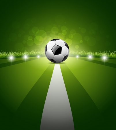 Soccer ball on green grass background, illustration
