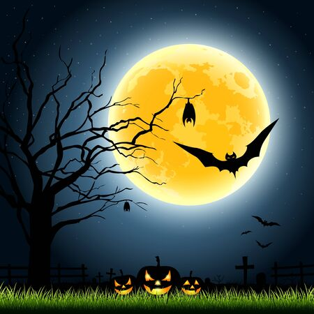 Halloween full moon, illustration Vector