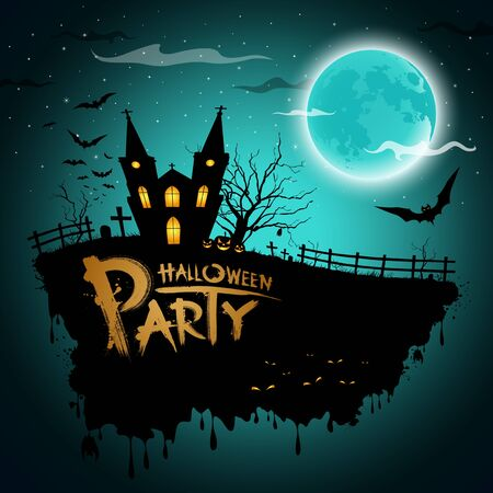 halloween message: Halloween party greeting card, illustration