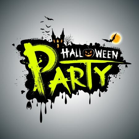 halloween party: Halloween party Bericht concept design, illustratie