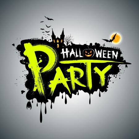 halloween party: Halloween party Message concept design, illustration