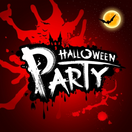 holiday party: Halloween party red blood background, illustration Illustration