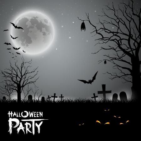 murcielago: Fiesta de Halloween de miedo de fondo, ilustración