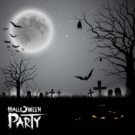 Halloween party scary background, illustration Vector
