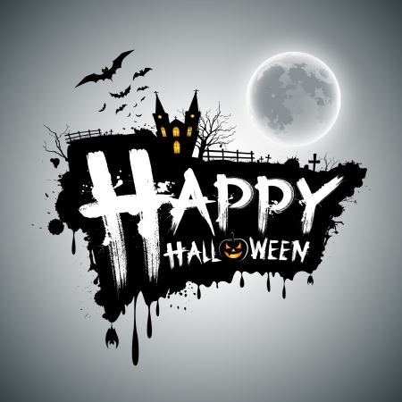halloween tree: Happy Halloween message design, illustration