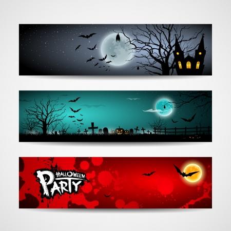 calabazas de halloween: Feliz d�a de Halloween bandera escenograf�a, ilustraci�n