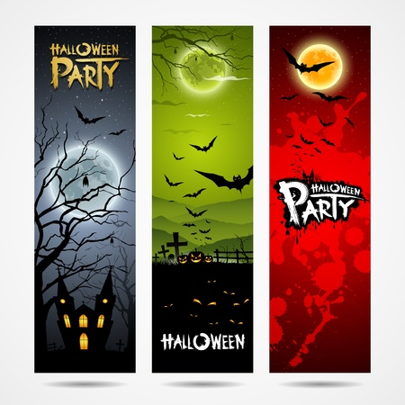 Halloween banners set design, Vector