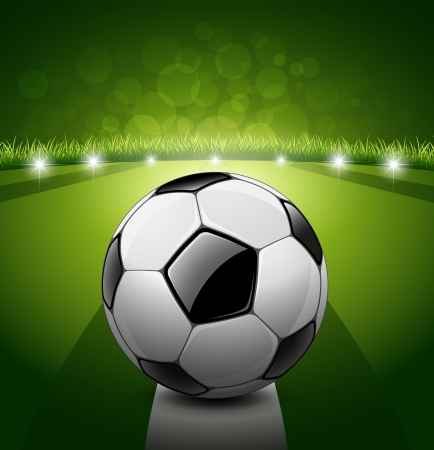 soccerfield: Voetbal bal op groen gras achtergrond Stock Illustratie