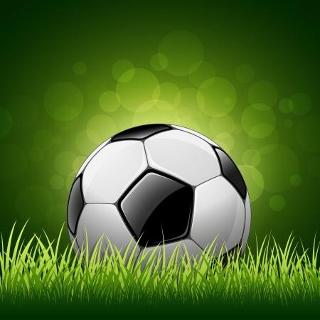 Balón de fútbol en fondo de la hierba