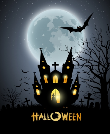 happy halloween: Happy Halloween party house scary background Illustration