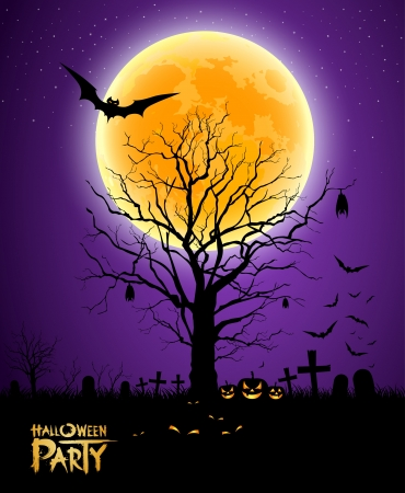 Halloween tree full moon background Vector