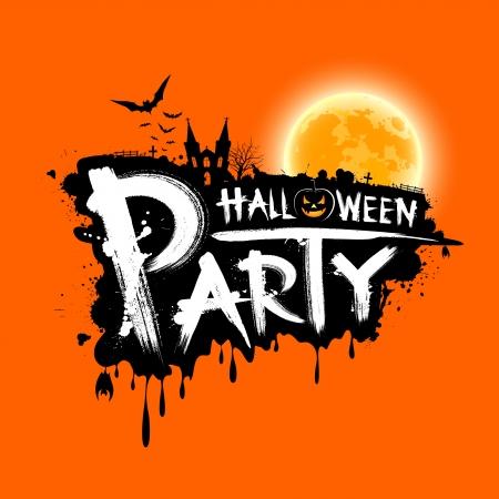 calabazas de halloween: Feliz Fiesta de Halloween dise�o de texto sobre fondo naranja