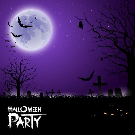 happy halloween: Happy Halloween scary on purple background Illustration