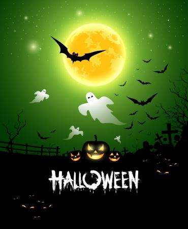 dark green background: Happy Halloween ghost design background