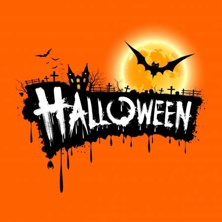 party silhouettes: Happy Halloween text design on orange background