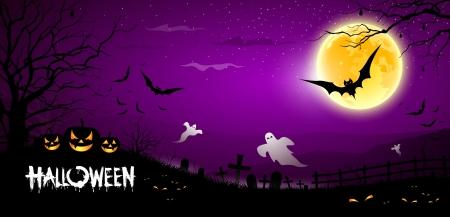 calabazas de halloween: Happy Halloween de miedo fantasma fondo morado