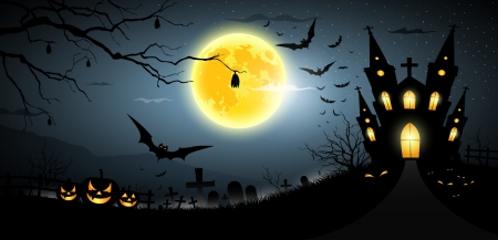 halloween cartoon: Happy Halloween party scary background Illustration