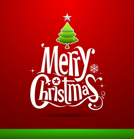 Christmas Greeting Card  Merry Christmas lettering, Stock Vector - 15884413