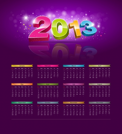 2013 Calendar new year modern design colorful background Stock Vector - 15884418