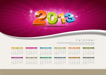 red ribbon week: Calendar 2013 new year design colorful background Illustration