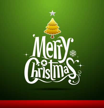 Merry Christmas lettering on green background Vector