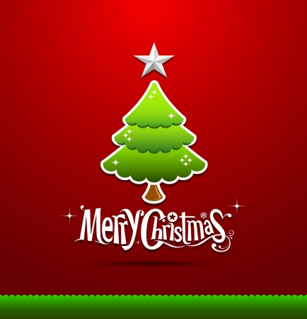 Merry Christmas lettering green tree background Vector