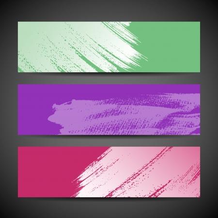 grungy header: Paint brush banner colorful background set Illustration