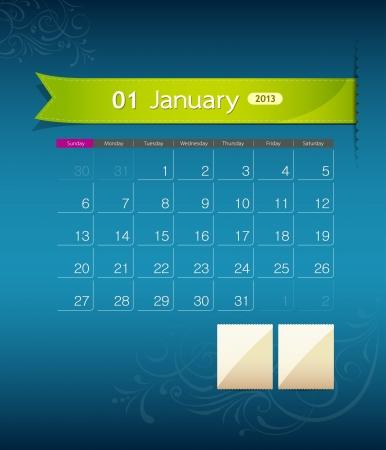 January 2013 calendar ribbon design,
