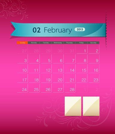 February 2013 calendar ribbon design,  Stock Vector - 15884427