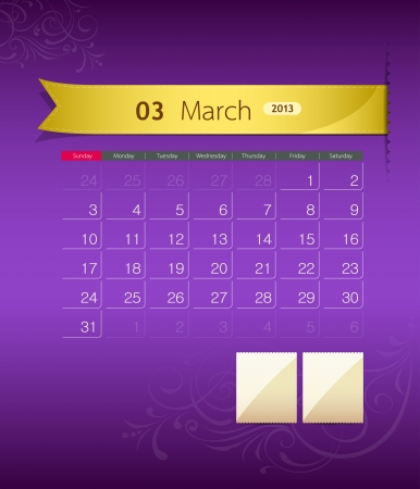 March 2013 calendar ribbon design,  Vector