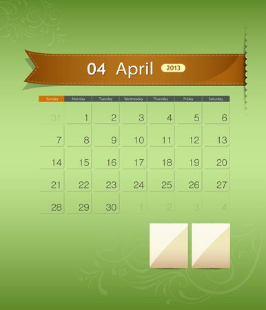 April 2013 calendar ribbon design, vector Stock Vector - 15966266