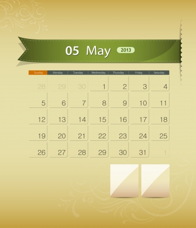 May 2013 calendar ribbon design, vector  Vector
